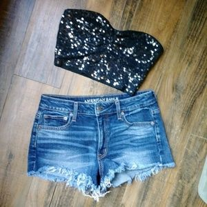 Bundle of sexy tops with sexy denim shorts